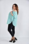 Женская мятная блуза свободного кроя 0517 размер 42-74, фото 2