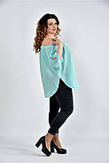 Женская мятная блуза свободного кроя 0517 размер 42-74, фото 3