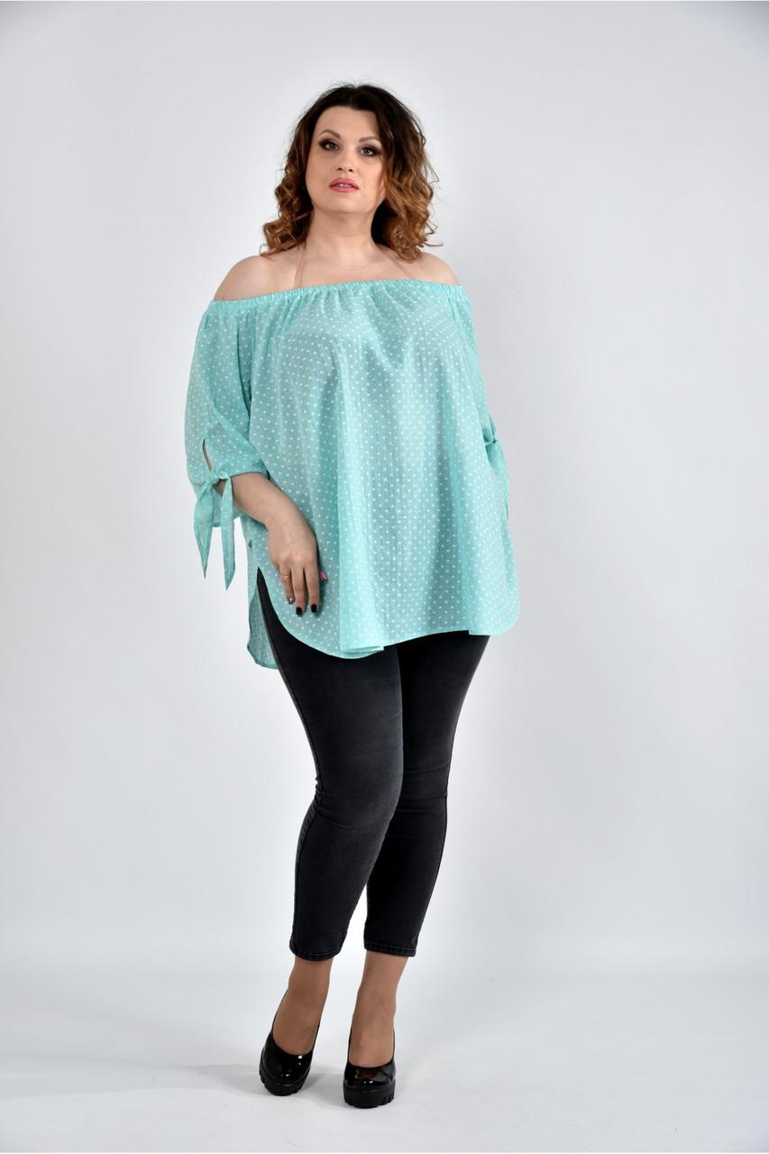 Женская мятная блуза свободного кроя 0517 размер 42-74