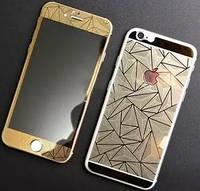 Защитное стекло для iPhone 6 Plus +, 6S Plus + (0.3 мм, 3D, ромбы, золото) комплект 2шт