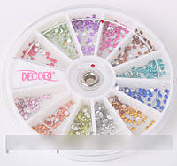 Набор разноцветных страз в карусельке, стразы для декора