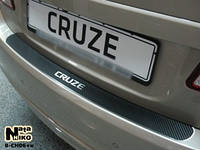 Накладка на задний бампер Chevrolet CRUZE 5D FL 2011- 3D карбон черного цвета из нержавеющей стали