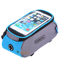 Велосипедная сумка на раму для смартфонов Roswheel D12496-T серо-голубая