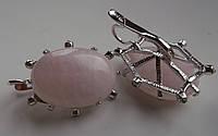 """Красивые серьги с розовым кварцем """"Элегия"""" от студии LadyStyle.Biz, фото 1"""