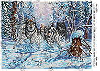 Схема для частичной вышивки бисером - Стая волков