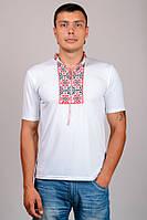Вышитая футболка мужская белая короткий рукав трикотажная (Украина)