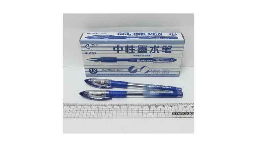 Ручка гелева Tianjiao, синя, з грипом, TZ501B
