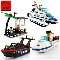 Конструктор Береговая полиция (3 катера + причал) 469 деталей Brick 117 SR