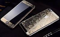 Защитное стекло для iPhone 6, 6S (0.3 мм, 3D, ромбы,золото) комплект 2шт