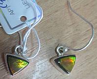 """Серебряные серьги  с черным опалом   """"Треугольники"""" от студии LadyStyle.Biz, фото 1"""