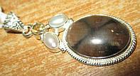 Элегантный серебряный кулон с хиастолитом (андалузитом), жемчугом и цитрином , от студии LadyStyle.Biz, фото 1