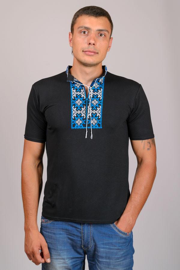 Черная вышиванка мужская футболка короткий рукав трикотажная (Украина)