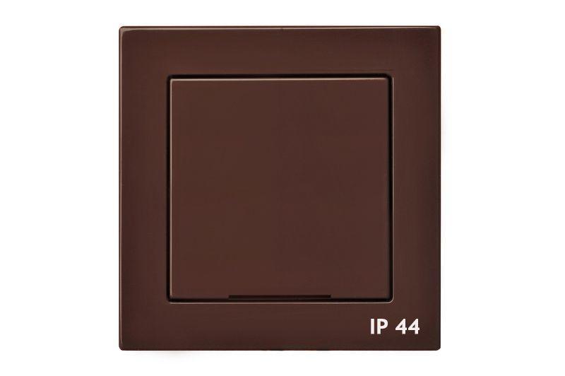 Розетка с заземлением IP44, коричневый, Epsilon