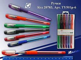 Набір кулькових  ручок Tianjiao, TY501P-6. 6кольорів