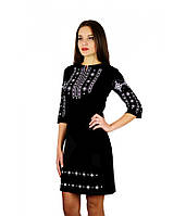 """Женское платье вышитое """"Ромб"""": черно-белая вышивка, фото 1"""