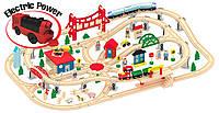 Деревянная железная дорога 130 елементов+электровоз