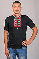 Вишиванка чоловіча чорна футболка короткий рукав трикотаж (Украина)