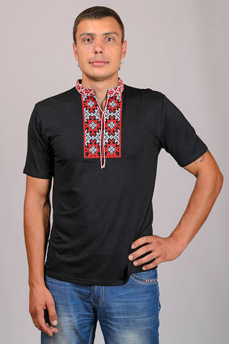 АКЦИЯ% Вишиванка чоловіча чорна футболка короткий рукав трикотаж (Украина) 8bbb4d5baa29a