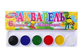 Фарба акварельна Колорит, 6 кольорів, пластикова коробка, КАП-6
