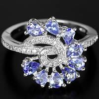 """Хорошенькое кольцо с танзанитами  """"Локон"""" , размер 18 от студии LadyStyle.Biz"""