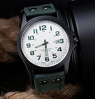 Часы мужские наручные кварцевые с темно-зеленым ремешком и белой строчкой (белый цыферблат) с календарем, фото 1