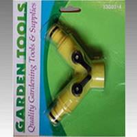 Разветвитель 2-х шлангов с кранами и быстросъёмами GARDEN 33G0314