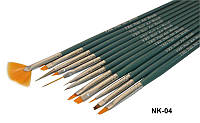 Набор кистей для рисования, дизайна и китайской росписи, набор кистей 12 шт YRE NK-04 зеленая ручка
