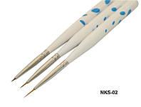 Кисти для рисования с белой ручкой синий горох 3 шт, набор кистей YRE NKS-02, рисунки кистями на ногтях