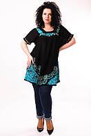 Туника женская черная с бирюзовым батиком, батал, размер свободный