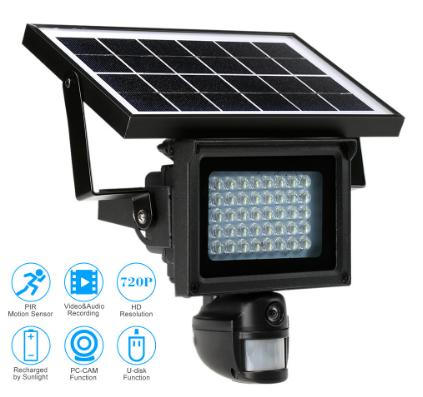 Прожектор - камера видеорегистратор с датчиком движения на солнечной батарее 40 LED