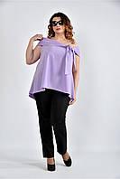 Женская асимметричная блуза 0510 цвет сиреневый размер 42-74