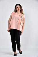 Женская асимметричная блуза 0510 цвет персик размер 42-74