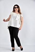 Женская асимметричная блуза 0510 цвет молочный размер 42-74