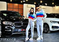 Мужской спортивный костюм BMW с тремя полосками, кофта на молнии с капюшоном, штаны зауженные с карманами.