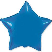 """Фольгированный шар без рисунка 18"""" звезда голубая"""