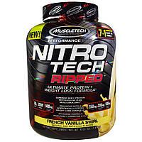 Muscletech, Nitro Tech, Ripped, окончательная формула Белок + потеря веса, со вкусом французской ванили, 4,00 фунта (1,81 кг)