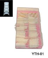 Типсы хрустальные матовые 100 шт упаковка, типсы YRE YTH-01, типсы для ногтей купить оптом Украина