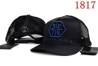 Кепка в стиле Philipp Plein  черная з синим
