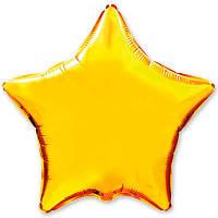 """Фольгированный шар без рисунка 18"""" звезда золотая"""