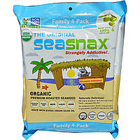 SeaSnax, Classic Olive, Roasted Seaweed Snack, Four Pack, 5 sheets (.54 oz) Each