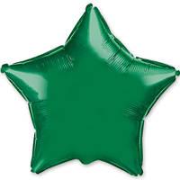 """Фольгированный шар без рисунка 18"""" звезда зеленая"""