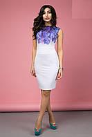 Нежное Облегающее Платье Белое с Сиреневыми Цветами XS-XL