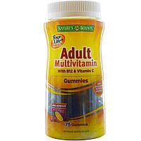 Natures Bounty, Мультивитамины для вашей жизни, взрослые мультивитаминные желатиновые конфеты с B12 и витамином С, 75 желатиновых конфет