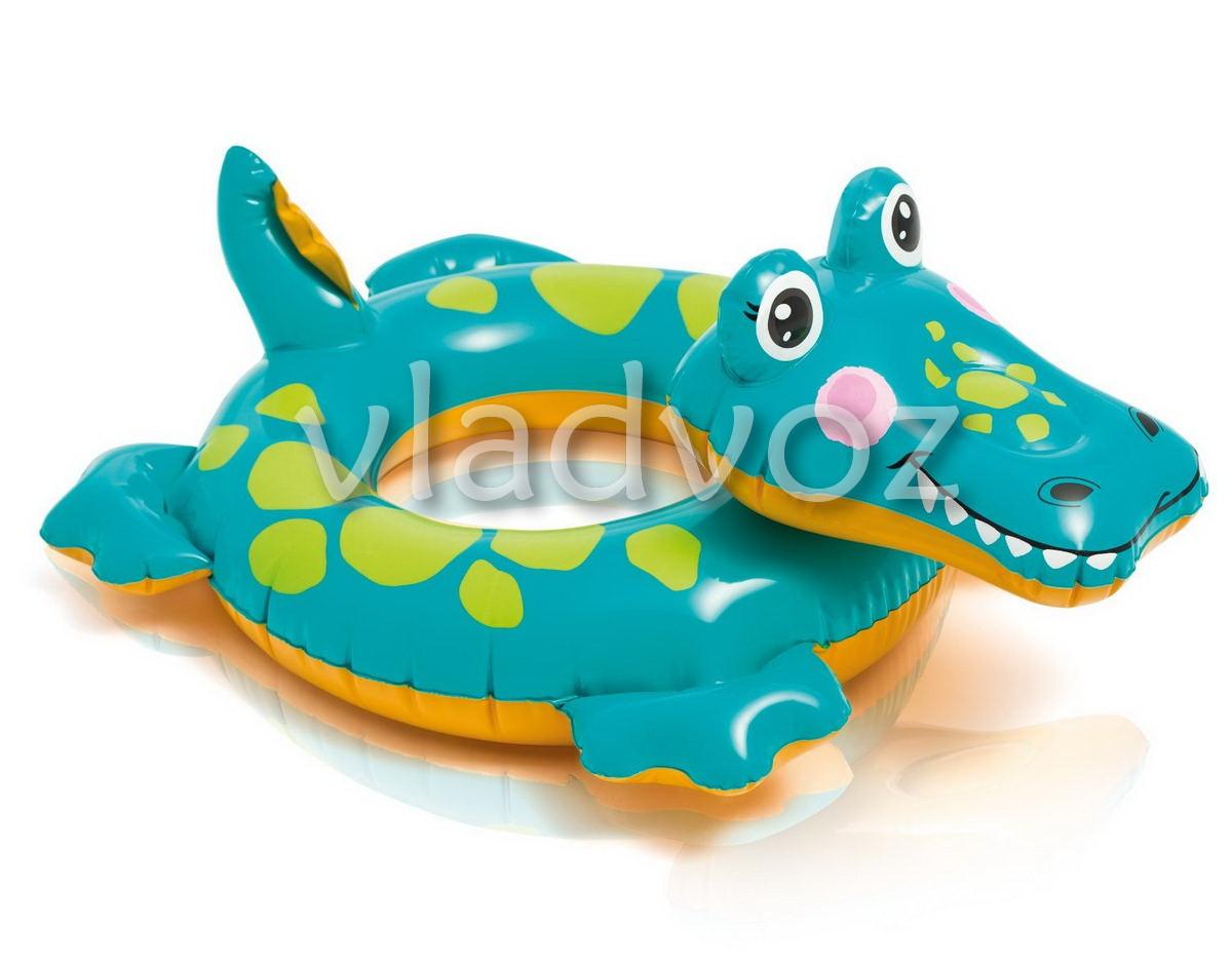 Надувной круг игрушка крокодил Intex 58221 71х56см