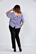 Женская блуза в клетку 0509 цвет сирень размер 42-74, фото 2