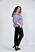 Женская блуза в клетку 0509 цвет сирень размер 42-74, фото 3