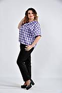 Женская блуза в клетку 0509 цвет сирень размер 42-74, фото 4