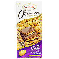 Valor, Milk Chocolate with Almonds, 0% Sugar Added with Stevia, 5.3 oz (150 g)