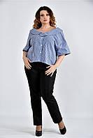 Женская блуза в клетку 0509 цвет синий размер 42-74