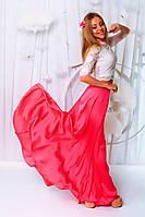 """Нарядный летний женский костюм """"Samina"""" шелковая макси-юбка и топ (3 цвета)"""